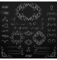 Chalkboard set of calligraphic design elements vector image vector image