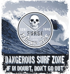 danger surf zone vector image