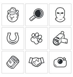 Detective icons set vector