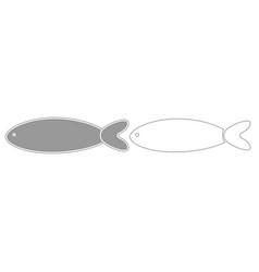 fish grey set icon vector image vector image
