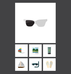 Flat icon beach set of beach sandals moisturizer vector