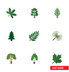 Flat icon natural set of timber wood oaken and vector