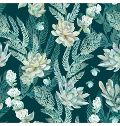 floral seamless pattern Succulents ferns vector image vector image