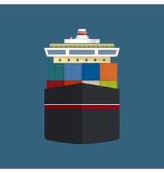 Front view of cargo container ship vector