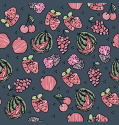 Fruit seamless sketch on grey background vector