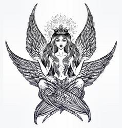Hand drawn romantic six winged magic angel girl vector
