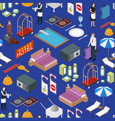 hotel service background pattern isometric view vector image
