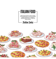 Italian food poster with national cuisine dishes vector