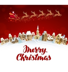 Merry Christmas greeting card Santa Claus in vector image