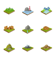 Mountains rocks lighthouse volcano and other vector