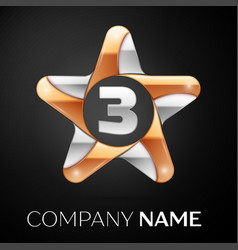 Number three logo symbol in the colorful star on vector