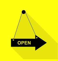 Open sign black icon with flat style vector