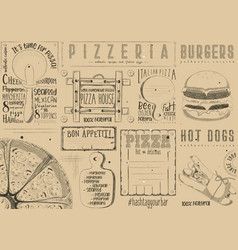 Placemat for pizzeria and fast food vector