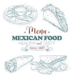 scetch mexican food menu vector image vector image