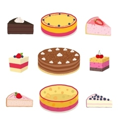 Set of different hipster cakes cheesecakes pies vector image