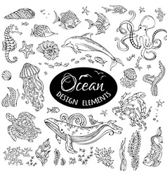 Set of doodles underwater ocean design elements vector