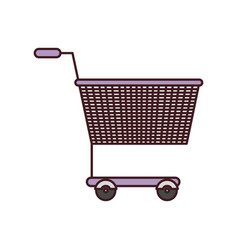 silhouette color with shopping cart purple with vector image vector image
