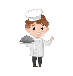 Smiling boy in cook uniform with dish vector