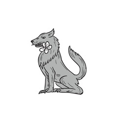 Timber wolf sitting plumeria flower drawing vector