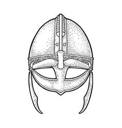 Viking medieval helmet engraving vintage black vector