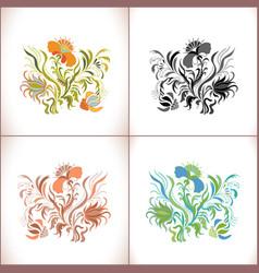 Vintage floral ornament set vector