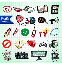 Visual media doodle vector