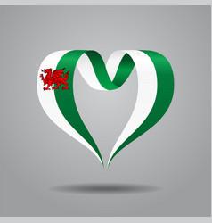 Welsh flag heart-shaped ribbon vector
