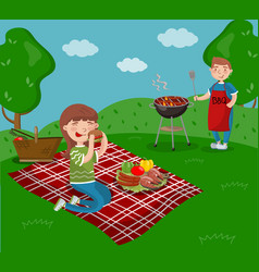 Young happy couple cooking and eating bbq while vector