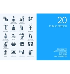 Set of blue hamster library public speech icons vector