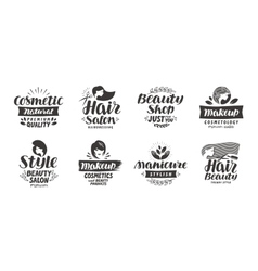 Beauty salon logo set of icons Beautiful labels vector image