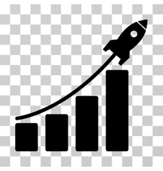 Startup rocket bar chart icon vector