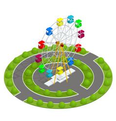 Isometric amusement park with ferris wheel family vector