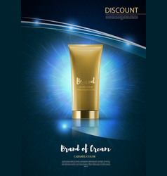 Cosmetic tube on blue shiny backdroppremium ads vector