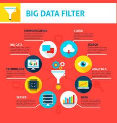Big data filter infographics vector