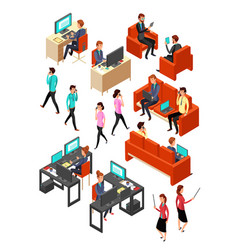 isometric business office people networking vector image