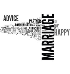 Advice for a happy marriage text word cloud vector