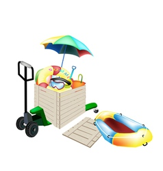 Pallet Truck Loading Beach Items in Shipping Box vector image