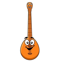 Fun cartoon banjo with a happy smiling face vector