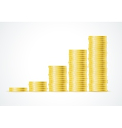 Columns of gold coins isolated on white vector