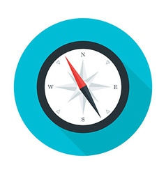 Compass flat circle icon with long shadow vector