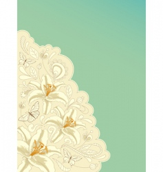 retro background with lily vector image
