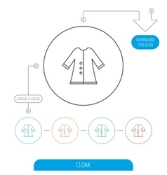 Cloak icon protection jacket outerwear sign vector