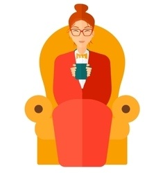 Woman sitting in chair with cup of tea vector