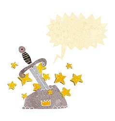 Cartoon magical sword in stone with speech bubble vector
