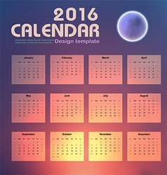 Calendar 2016 night sky and moon background design vector
