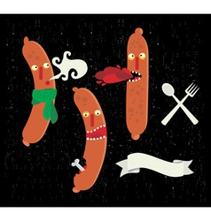 Sausage characters vector