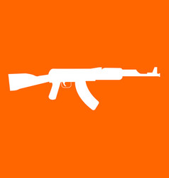 Assault rifle white icon vector