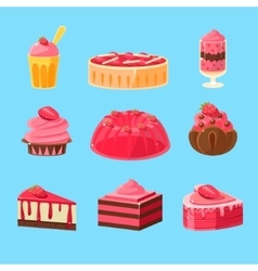 Backery with strawberry collection vector