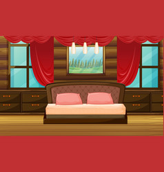 Bedroom scene with wooden bed vector