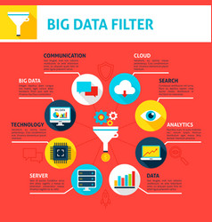 big data filter infographics vector image vector image